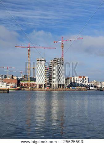 Helsinki, Finland - March, 14, 2016: veiw of construction in Helsinki, Finland