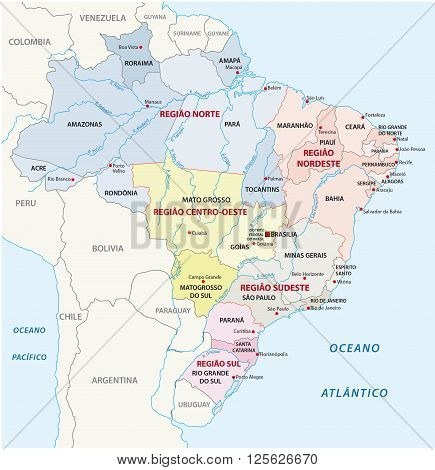 Colorful Brazil administrative map with states and capital cities