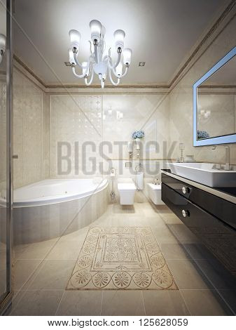 Bathroom in avant garde style. 3d render