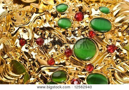 Gold Background with Ruby & Nephrite