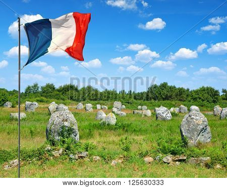 Megalithic monuments menhirs in Carnac in Brittany, France