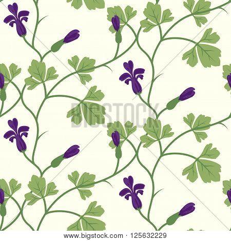 Floral Seamless Vector Pattern Design Purple
