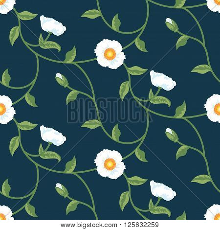 Floral Seamless Vector Pattern Design Blue White