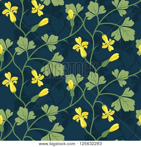 Floral Seamless Vector Pattern Design Yellow