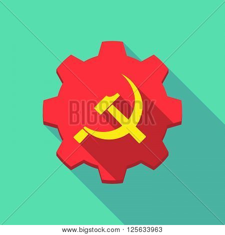 Long Shadow Gear Icon With  The Communist Symbol