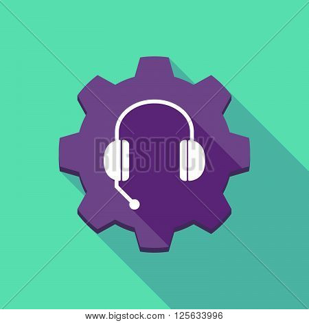 Long Shadow Gear Icon With  A Hands Free Phone Device