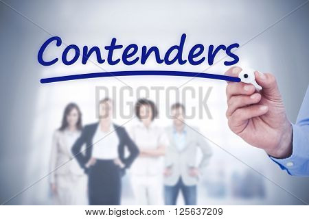 Concentrated businessman writing with marker against word contenders underlined
