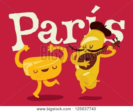 Paris bread and cheese dancing couple with guitar - style vector illustration isolated on fuchsia background - Sign