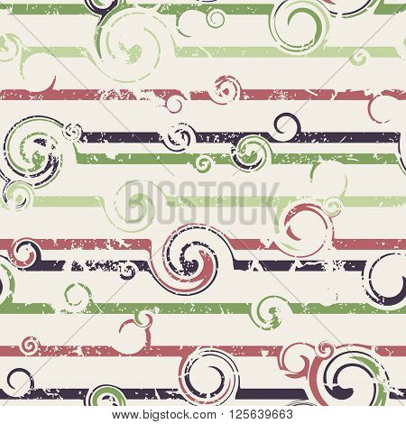 Seamless pattern with stylish spiral curls. Vector texture. Grunge