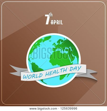 Illustration of World health day concept with globe and ribbon on brown background