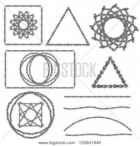 Bicycle Chain on a White Background for your Design. Bicycle Chain Frames. Bicycle Chain Ornaments. Bicycle Chain Icons