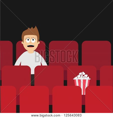 Cartoon man boy character sitting in movie theater. Film show Cinema background. Viewer watching movie. Popcorn box on red seat. Flat design Vector illustration