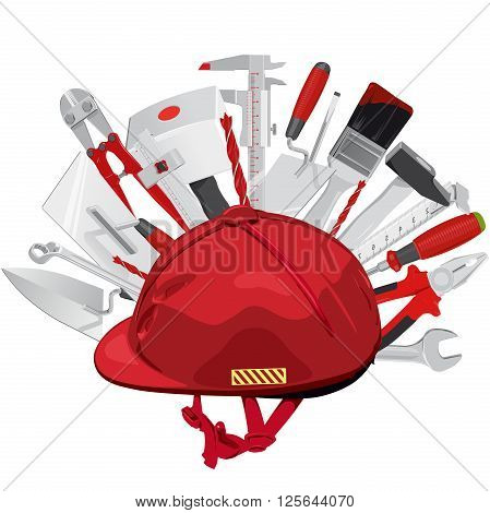 Hard hat with set of construction tools. Red helmet with brush, drill, hammer, key, mallet, pliers, tape measure, ruler, screwdriver, trowel, wrench, axe. Flatten isolated master vector illustration