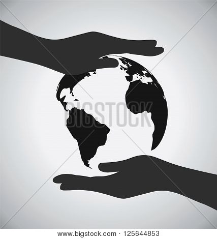Black Earth On Hands Icon Save The Earth Concept
