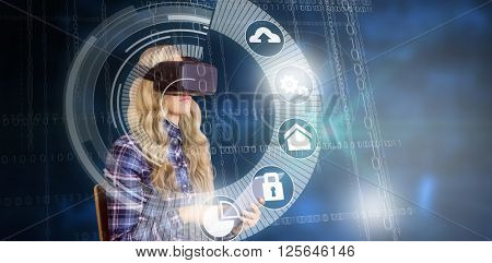 Pretty casual worker using oculus rift against interface