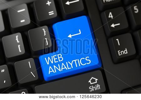 Keypad Web Analytics on Modern Laptop Keyboard. Web Analytics Button on Black Keyboard. Web Analytics Concept: Modernized Keyboard with Web Analytics, Selected Focus on Blue Enter Key. 3D.