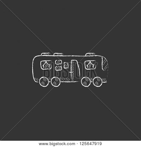 Motorhome. Drawn in chalk icon.