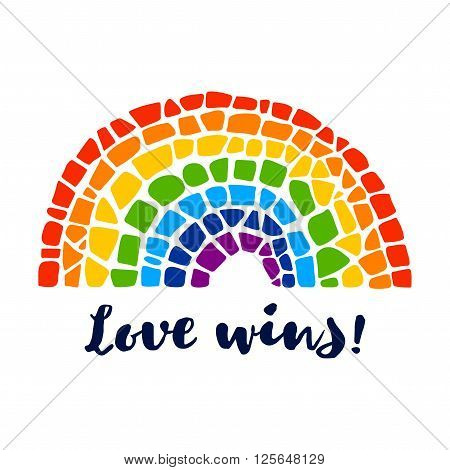 Mosaic vector rainbow. Mosaic rainbow on white background. Rainbow vector icon. Rainbow LGBT logo. LGBT symbol. Gay culture sign. Love wins lettering. Gay pride design element. Isolated mosaic rainbow