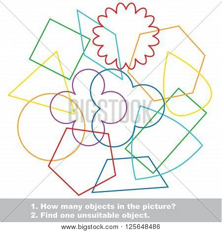 Simple geometric shapes mishmash colorful set in vector. Find all hidden objects on the picture. Find one unfit object. Visual game for children.