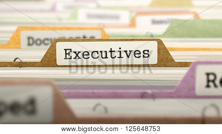 Executives Concept. Colored Document Folders Sorted for Catalog. Closeup View. Selective Focus. 3D Render.