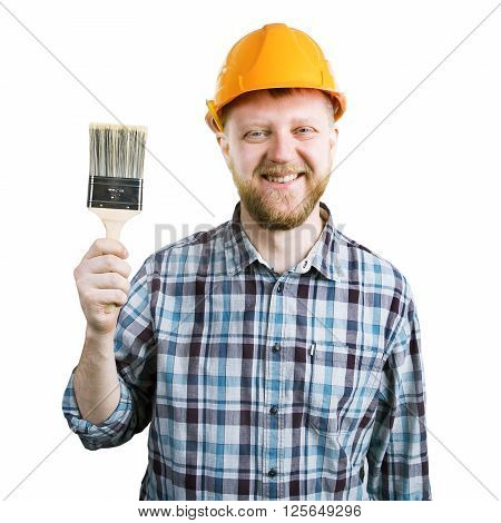 Funny man in an orange helmet with a brush