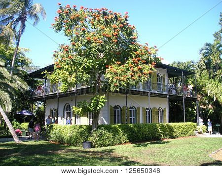 KEY WEST USA -  January 15 2009: house of Ernest Hemmingway in Key West USA. Ernest Hemingway lived and wrote here from 1931 to 1939