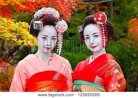 Geisha - Maiko in Gion District in Kyoto Japan KYOTO JAPAN - NOVEMBER 22 2015: Unidentified