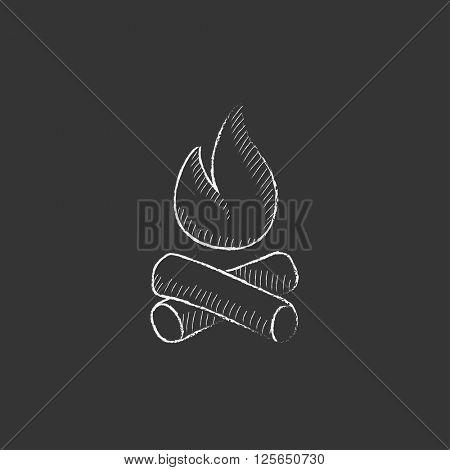 Campfire. Drawn in chalk icon.