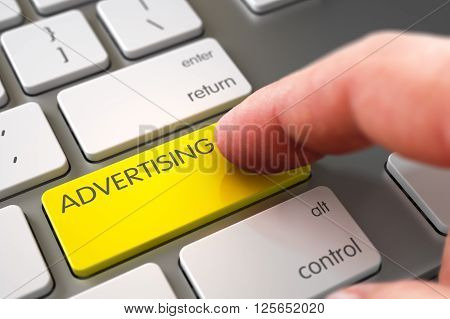 Close Up view of Male Hand Touching Advertising Computer Button. Advertising Concept. Advertising - Slim Aluminum Keyboard Concept. Finger Pressing a Modernized Keyboard Key with Advertising Sign. 3D.