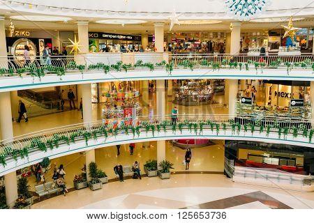 MINSK, BELARUS - June 3, 2014: Stolitsa is a major shopping center in Belarussian capital. SC Stolitsa is situated at the central square of Minsk on Nezavisimosty square.