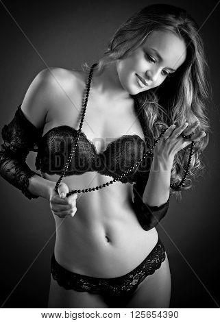Sensual Blond Woman In Lingerie,  Dark Background