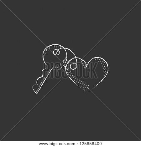 Trinket for keys as heart. Drawn in chalk icon.