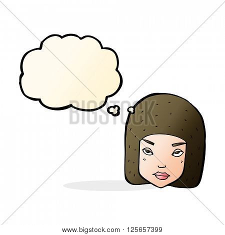 cartoon annoyed female face with thought bubble