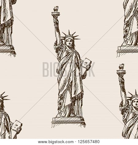 Statue of Liberty sketch style seamless pattern vector illustration. Old engraving imitation. Statue of Liberty landmark hand drawn sketch imitation