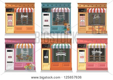 Shops and stores facade icons set in flat design style. Shop, Newspaper shop, Cafe, Barber, Flower shop, Bakery. Vector illustration