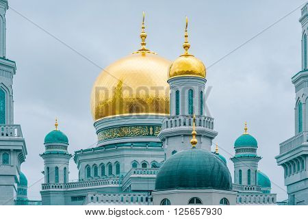 Moscow, Russian Federation, April 01, 2016: Exterior of main mosque in Moscow at nasty day time. This mosque is one of the largest in Europe.