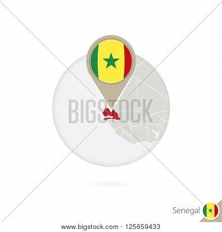 Senegal Map And Flag In Circle. Map Of Senegal, Senegal Flag Pin. Map Of Senegal In The Style Of The