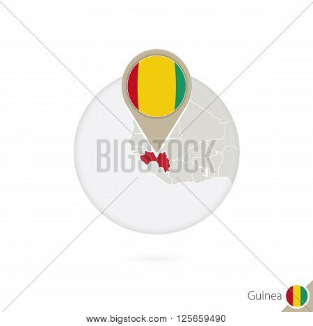 Guinea Map And Flag In Circle. Map Of Guinea, Guinea Flag Pin. Map Of Guinea In The Style Of The Glo