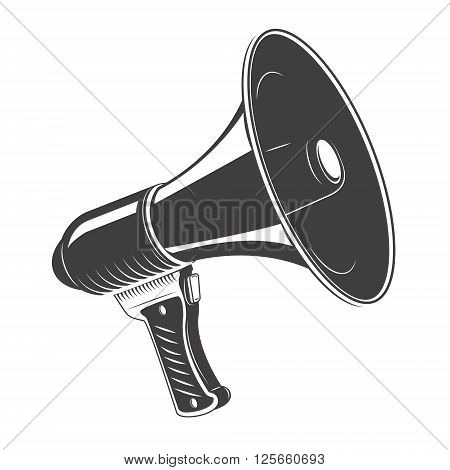 Megaphone monochrome icon isolated on white background. Megaphone icon.