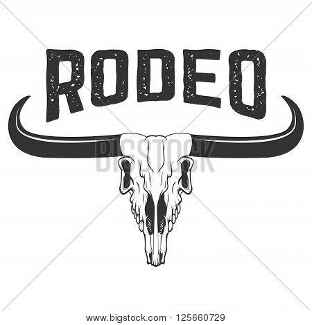 Rodeo. Buffalo skull isolated on white background. Bull skull icon. Design element in vector.