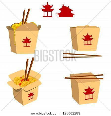 Set of China food boxes illustrations isolated on white background. China food icons. Fast food. Vector design element.