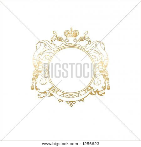round frame with floral ornament and crown. blank so you can add your own images. illustration. poster