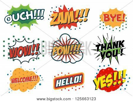 Vector set of comic speech bubbles in trendy pop art style. Hand drawn set of speech bubbles with phrases Yes Hello Thank you Welcome Wow Bye Zam Ouch. Design elements in vector.