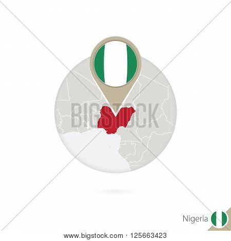 Nigeria Map And Flag In Circle. Map Of Nigeria, Nigeria Flag Pin. Map Of Nigeria In The Style Of The