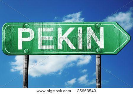 pekin road sign on a blue sky background
