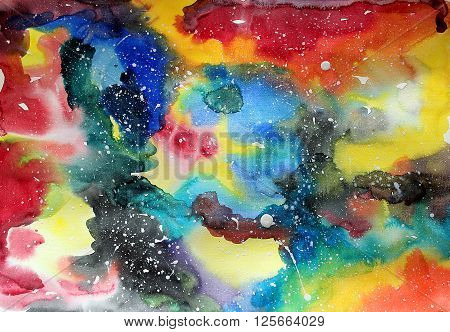 Watercolor galaxy illustration. Raster trendy modern illustration.