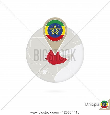 Ethiopia Map And Flag In Circle. Map Of Ethiopia, Ethiopia Flag Pin. Map Of Ethiopia In The Style Of