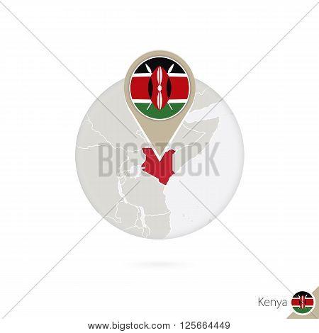 Kenya Map And Flag In Circle. Map Of Kenya, Kenya Flag Pin. Map Of Kenya In The Style Of The Globe.