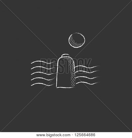 Solar energy and hydropower. Drawn in chalk icon.