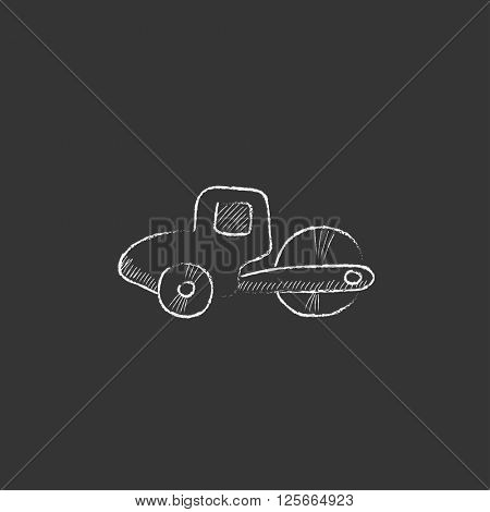 Road roller. Drawn in chalk icon.